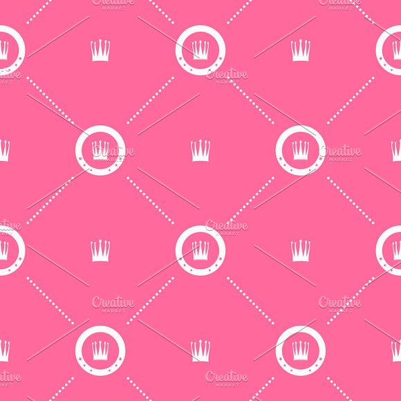 Pink Pattern With White Crown
