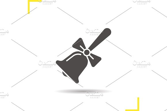 School Bell With Bow Glyph Icon