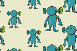 Eared alien seamless pattern
