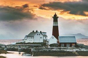 Lighthouse at sunset Landscape