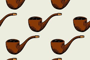 Seamless pattern with smoking pipe