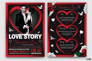 Valentines Day Flyer+Menu Bundle V4