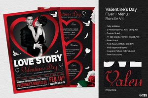 Valentines Day Flyer+Menu Bundle V4