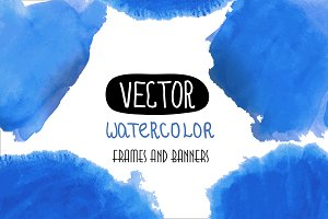 Blue watercolor set