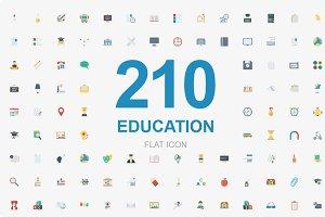 210 Education Flat icons