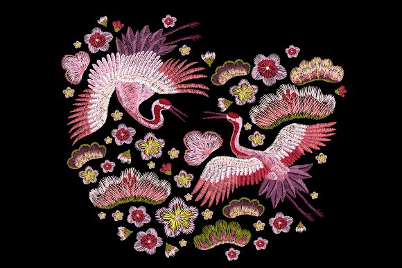 Embroidery Crane And Flowers