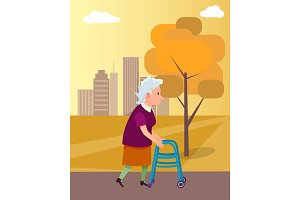 Woman Move with Walkers Help Vector Illustration