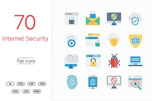 50+ Internet Security Flat icons