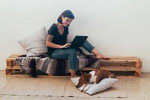 Female freelancer works from home