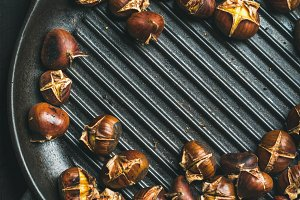Roasted chestnuts in grilling pan