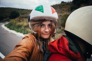Selfie of motorcycle passenger