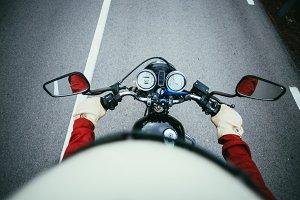 Motorcycle handlebar in motion