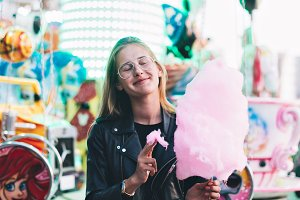 Pretty woman with cotton candy
