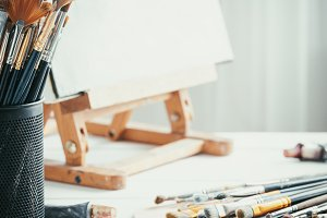 Artistic equipment in painter studio