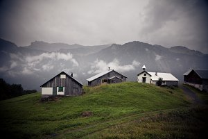 Small Settlement In The Alps
