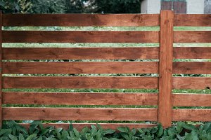 Wooden fence, a pen for horses, brown of boards. Green grass and trees against background of boards. Summer autumn day in nature.