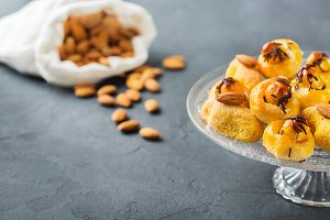 Almond pastry, cookies, biscuits, sweets on a table