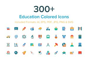 300+ Education Colored Icons