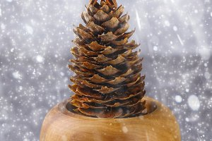 Christmas tree of cones with an anise star. New Year Christmas.