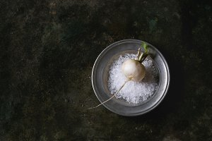 White radish with salt