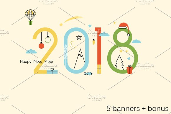 banners happy new year 2018 bonus illustrations