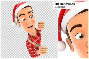 3D Handyman with Christmas Hat