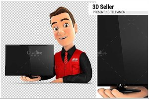 3D Seller Presenting Television