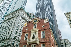 Old state house, historical building in downtown of Boston, Massachusetts, USA