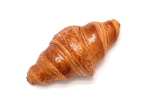 Fresh croissant isolated on white background, top view