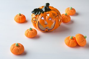 Decorative pumpkin with orange marshmallows