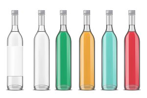 Glass vodka bottle with screw cap