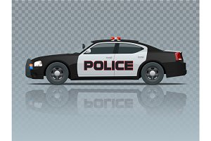 Vector Police car with rooftop flashing lights, a siren and emblems. Template isolated illustration. View side on a transparent background. Change the colour in one click.