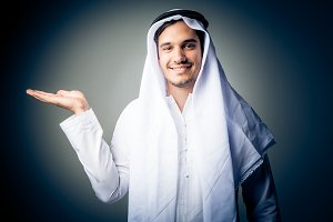 Young Man Wearing Traditional Arabic Clothing