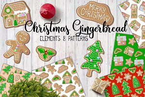 Christmas Gingerbread Vector Pattern