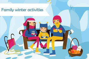 Family winter activities set