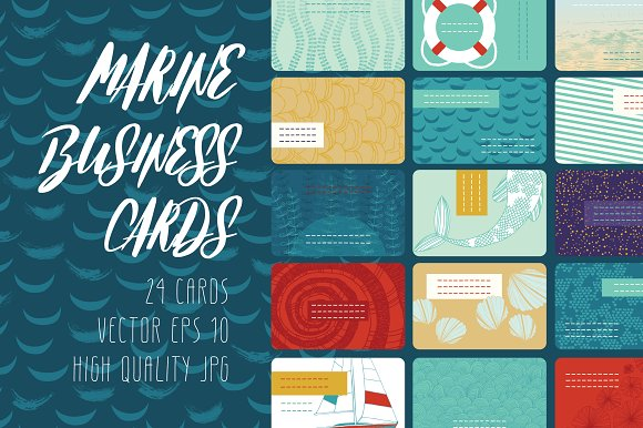 Marine Business Cards-Graphicriver中文最全的素材分享平台