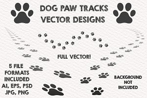 3 Dog Paw Vector Tracks Design