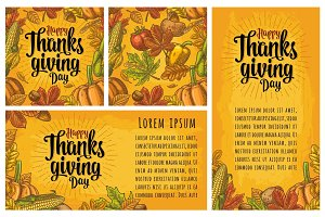 Seamless pattern for Thanksgiving Day. Vintage engraving