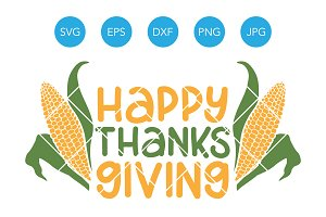 Happy Thanksgiving SVG with Corn
