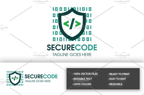 Secure Code Logo in Logo Templates - product preview 2
