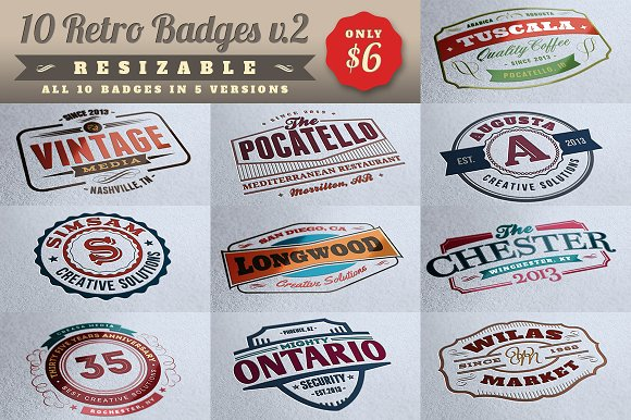 10 Retro Signs or Badges v.2 + Bonus