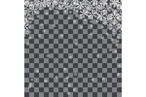 Abstract pattern of transparent falling snowflakes