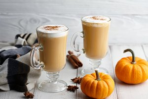 Pumpkin spice latte with cream