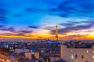 Shimmering Eiffel Tower at sunset in Paris, France