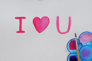 Painting I LOVE YOU by watercolor