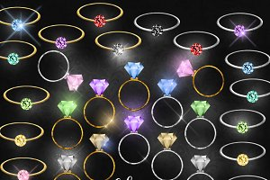 Solitaire Diamond Rings Clipart