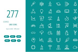 250+ Science line icons