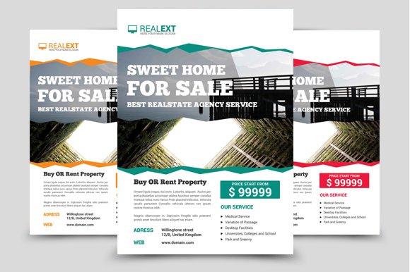 real estate property flyer v 01 flyer templates creative market