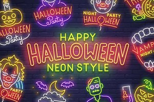 Halloween Emblem & Logo - Neon style