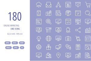 150+ Online Marketing line icons
